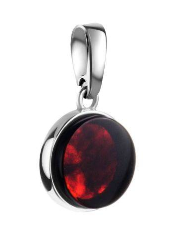 Round Silver Pendant With Bright Cherry Amber The Furor, image