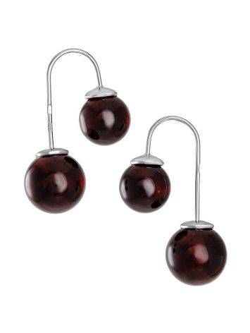 Stylish Cherry Amber Threader Earrings In Sterling Silver The Paris, image