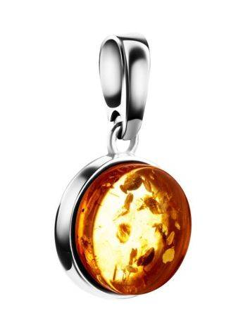 Round Silver Pendant With Lemon Amber The Furor, image