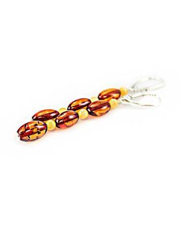 Two Tone Amber Dangle Earrings With Sterling Silver The Bohemia, image