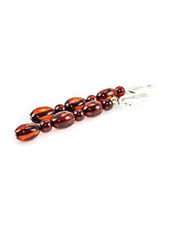 High Polished Cherry Amber Dangles In Sterling Silver The Bohemia, image