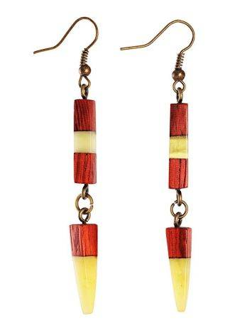 Handmade Padauk Wood Dangle Earrings With Honey Amber And Brass The Indonesia, image