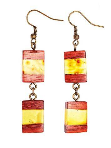 Handcrafted Padauk Wood Dangles With Lemon Amber And Brass The Indonesia, image