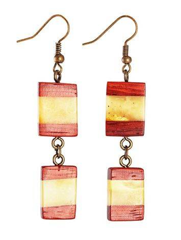 Handmade Amber Dangles With Padauk Wood The Indonesia, image