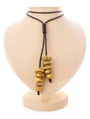 Honey Amber Necklace With Leather Cord The Indonesia, image