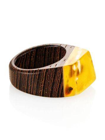 Wenge Wood Ring With Honey Amber The Indonesia, Ring Size: 9 / 19, image , picture 3
