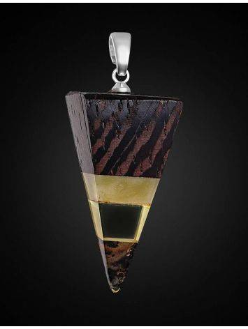 Triangle Wenge Wood Pendant With Honey Amber The Indonesia, image , picture 2