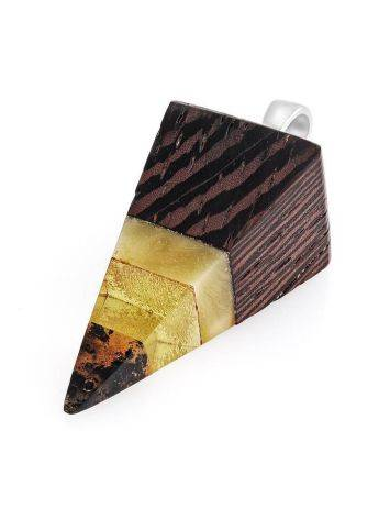 Triangle Wenge Wood Pendant With Honey Amber The Indonesia, image , picture 3