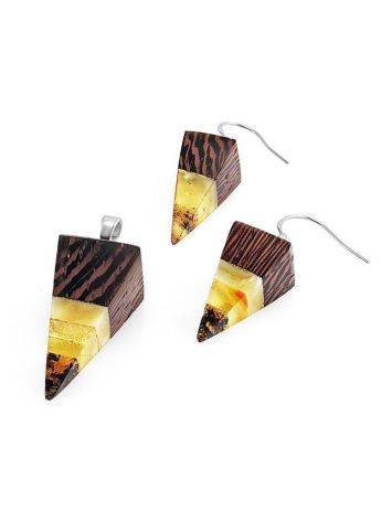Triangle Wenge Wood Pendant With Honey Amber The Indonesia, image , picture 4