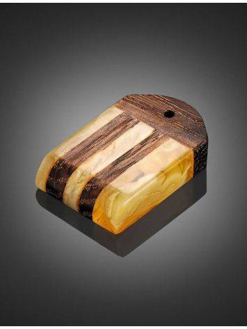 Wooden Pendant With Honey Amber The Indonesia, image , picture 2