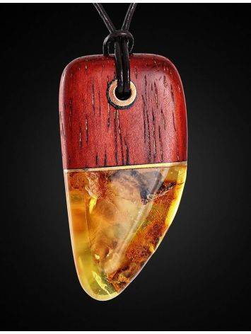Padauk Wood Pendant With Cognac Amber The Indonesia, image , picture 3