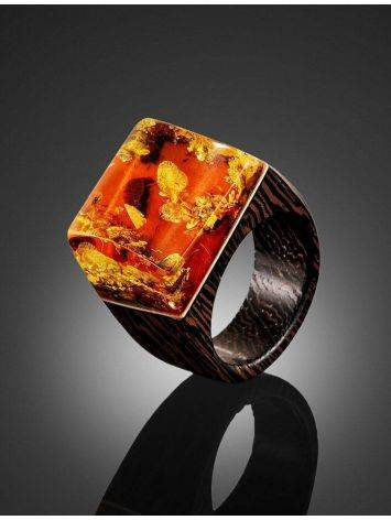 Wooden Ring With Lemon Amber The Indonesia, Ring Size: 7 / 17.5, image , picture 2