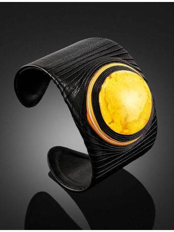 Dark Leather Cuff Bracelet With White Amber The Nefertiti, image , picture 2