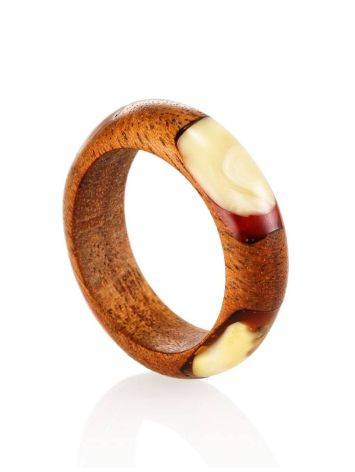 Wooden Ring With Honey Amber The Indonesia, Ring Size: 8 / 18, image , picture 3