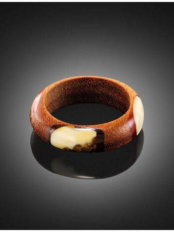 Wooden Ring With Honey Amber The Indonesia, Ring Size: 8 / 18, image , picture 2