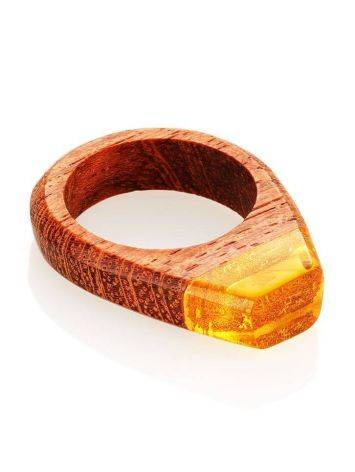 Redwood Ring With Lemon Amber The Indonesia, Ring Size: 10 / 20, image , picture 3