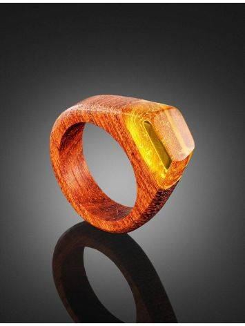 Redwood Ring With Lemon Amber The Indonesia, Ring Size: 10 / 20, image , picture 2