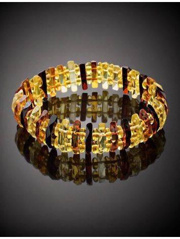 Faceted Multicolor Amber Designer Bracelet The Tangerine, image , picture 2