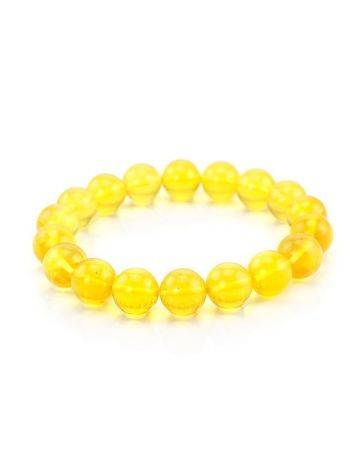 Lemon Amber Ball Beaded Stretch Bracelet, image