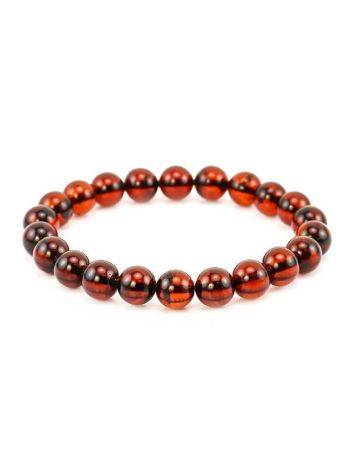Dark Cherry Amber Medium Size Beaded Bracelet, image