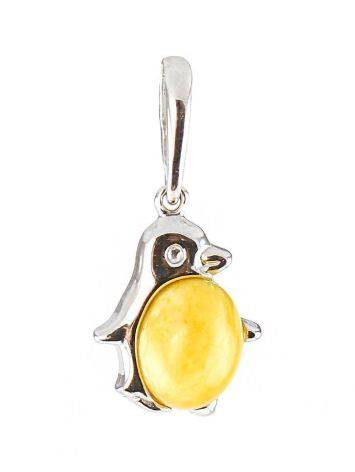 Silver Penguin Pendant With Honey Amber, image