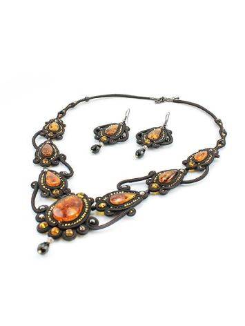 Ornate Textile Drop Earrings With Amber And Glass Beads The India, image , picture 3