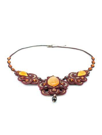 Glass Beads Braided Necklace With Amber And Crystals The India, image , picture 3