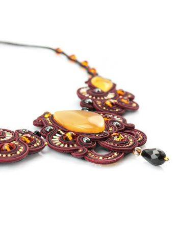 Glass Beads Braided Necklace With Amber And Crystals The India, image , picture 5