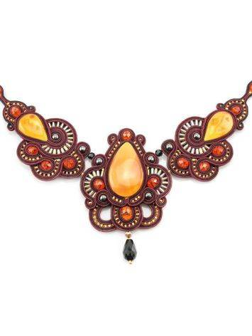 Glass Beads Braided Necklace With Amber And Crystals The India, image , picture 2