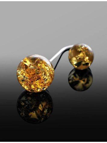 Asymmetric Silver Threader Earrings With Lemon Amber The Paris, image , picture 3