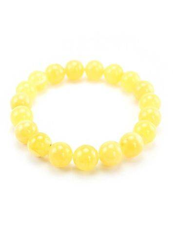 Honey Amber Ball Beaded Stretch Bracelet, image , picture 2