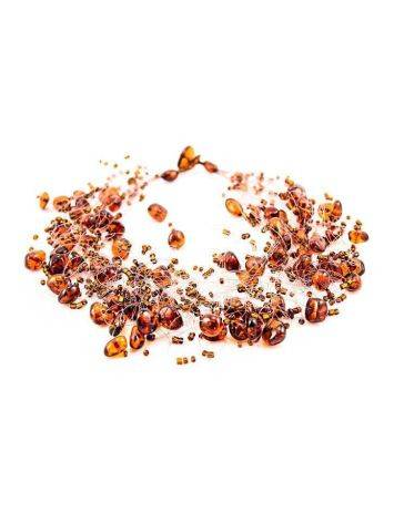 Cherry Amber Necklace With Glass Beads The Fable, image , picture 4
