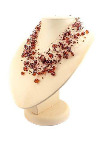 Cherry Amber Necklace With Glass Beads The Fable, image , picture 2