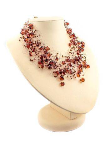 Cherry Amber Necklace With Glass Beads The Fable, image , picture 3