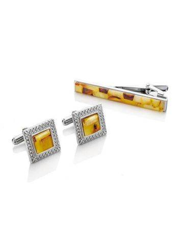 Mosaic Amber Cufflinks And Tie Clip Set, image