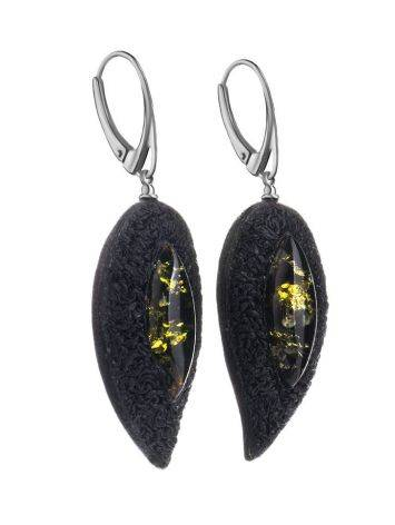 Dark Leather Amber Earrings The Nefertiti, image , picture 3