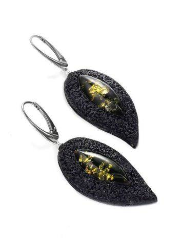 Dark Leather Amber Earrings The Nefertiti, image , picture 4