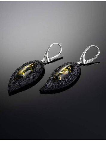 Dark Leather Amber Earrings The Nefertiti, image , picture 2