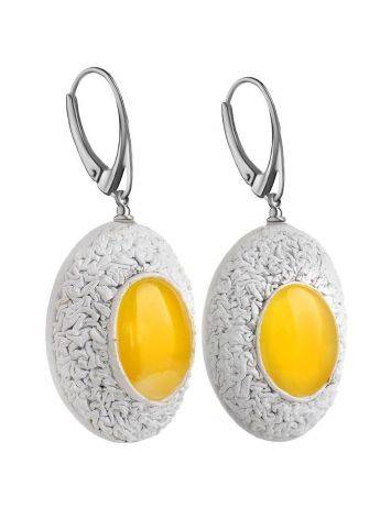 Amber Earrings In White Leather And Silver The Nefertiti, image , picture 3