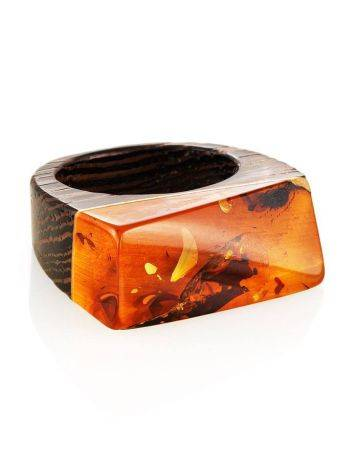 Boho Style Wenge Wood Ring With Bright Lemon Amber The Indonesia, Ring Size: 7 / 17.5, image , picture 3