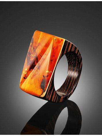 Boho Style Wenge Wood Ring With Bright Lemon Amber The Indonesia, Ring Size: 7 / 17.5, image , picture 2