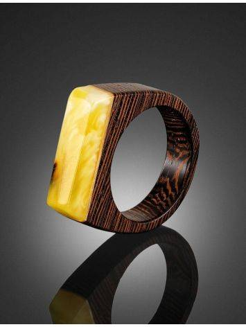 Handcrafted Wenge Wood Ring With Honey Amber The Indonesia, Ring Size: 10 / 20, image , picture 2
