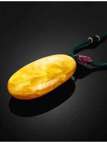Honey Amber Pendant On Braided Cord The Beijing, image , picture 2