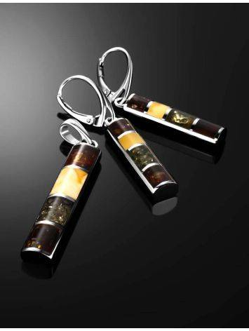 Drop Amber Earrings In Sterling Silver The London, image , picture 4