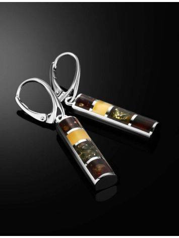 Drop Amber Earrings In Sterling Silver The London, image , picture 2
