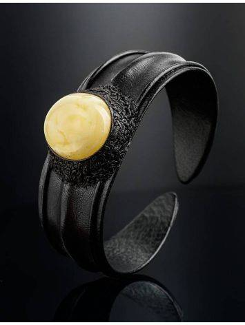 Leather Cuff Bracelet With White Amber The Nefertiti, image , picture 2