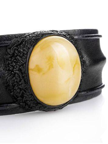 Leather Cuff Bracelet With White Amber The Nefertiti, image , picture 3