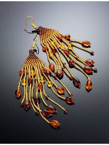 Braided Earrings With Cognac Amber And Yellowish Glass Beads The Fable, image , picture 2