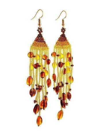Braided Earrings With Cognac Amber And Yellowish Glass Beads The Fable, image , picture 3