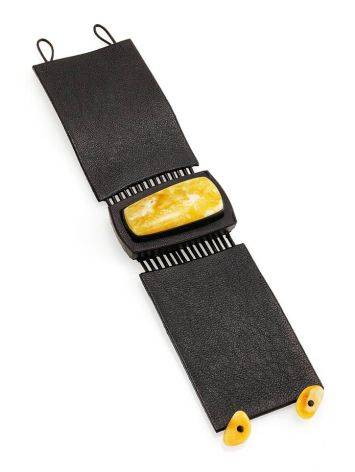 Handcrafted Dark Leather Bracelet With Honey Amber The Amazon, image , picture 3